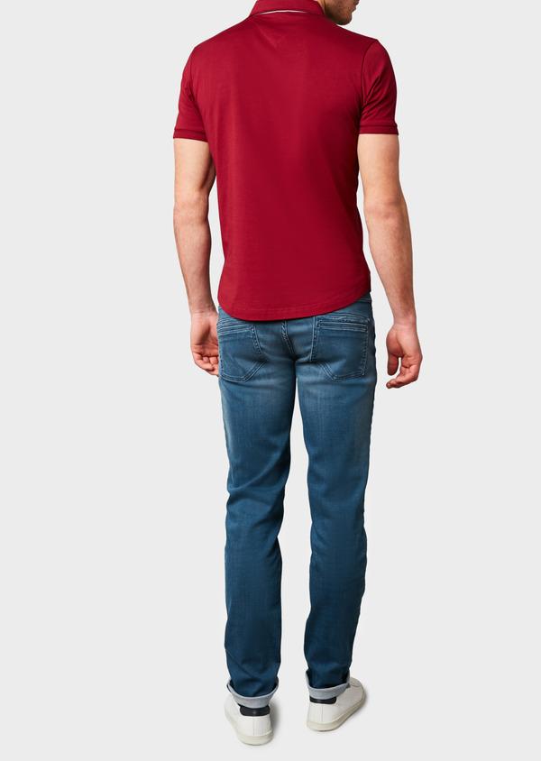 Polo manches courtes Slim en coton uni bordeaux - Father and Sons 7624