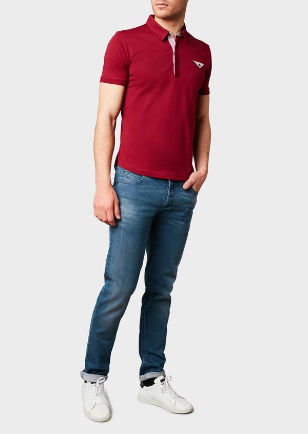 Polo manches courtes Slim en coton uni bordeaux - Father and Sons 7623