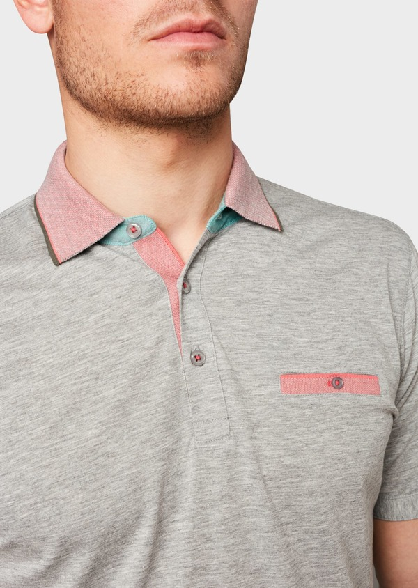 Polo manches courtes Slim en coton gris chiné - Father and Sons 7537