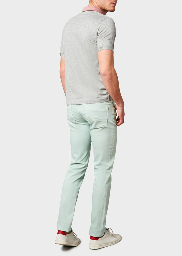 Polo manches courtes Slim en coton gris chiné - Father and Sons 7536