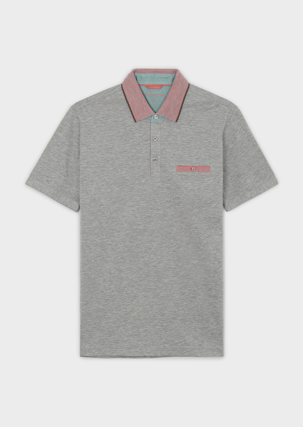 Polo manches courtes Slim en coton gris chiné - Father and Sons 7533