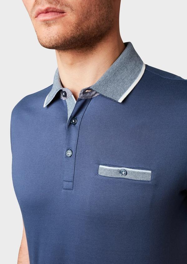 Polo manches courtes Slim en coton uni bleu indigo - Father and Sons 7545