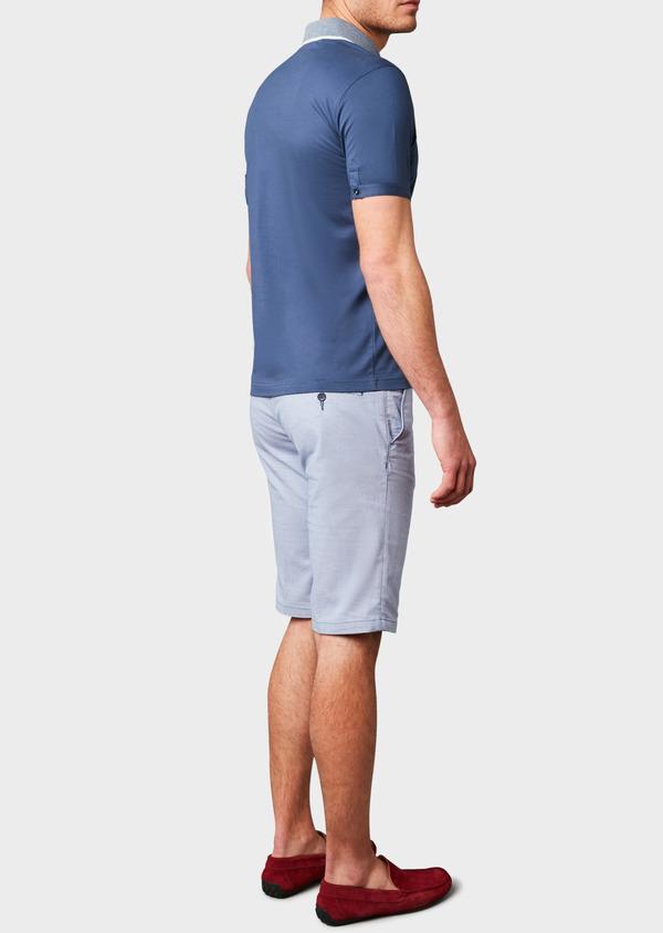 Polo manches courtes Slim en coton uni bleu indigo - Father and Sons 7544