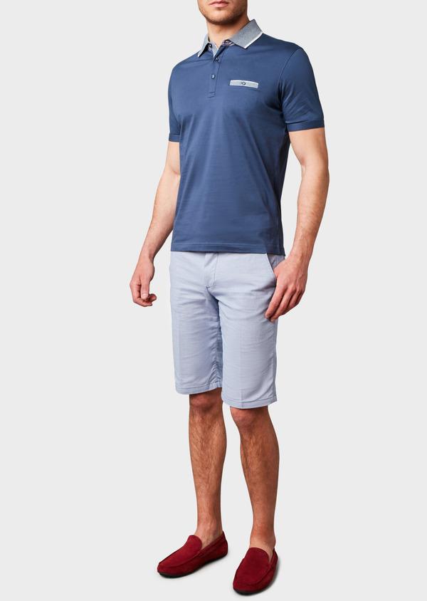 Polo manches courtes Slim en coton uni bleu indigo - Father and Sons 7543