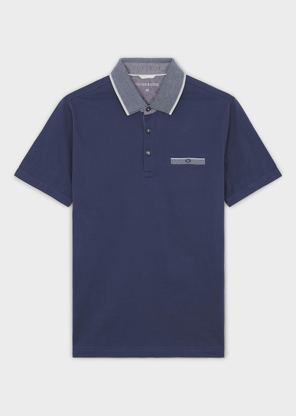 Polo manches courtes Slim en coton uni bleu indigo - Father and Sons 7541