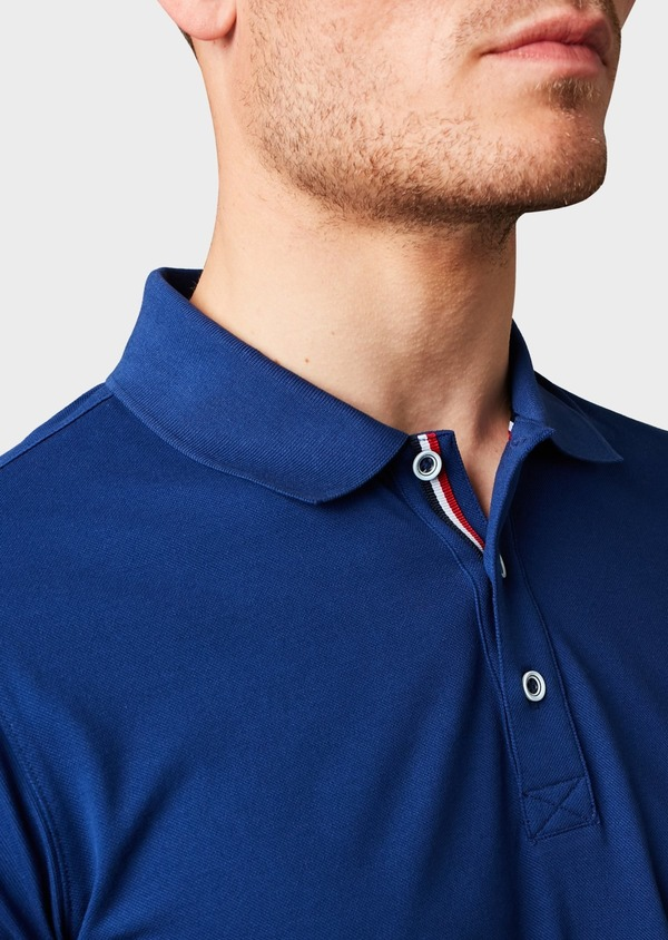 Polo manches courtes Slim en coton mercerisé bleu indigo - Father and Sons 8183