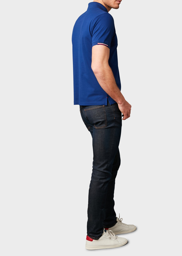 Polo manches courtes Slim en coton mercerisé bleu indigo - Father and Sons 8182