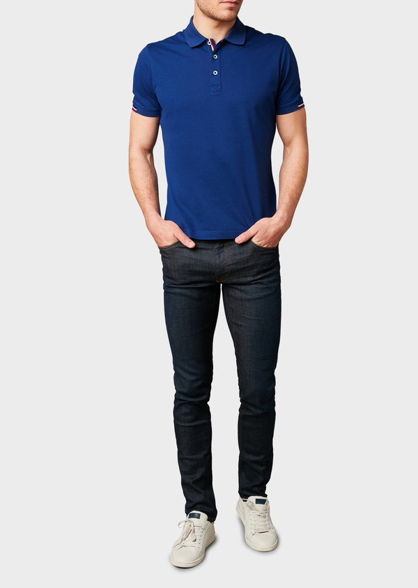 Polo manches courtes Slim en coton mercerisé bleu indigo - Father and Sons 8181