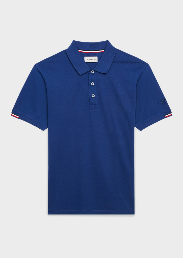 Polo manches courtes Slim en coton mercerisé bleu indigo - Father and Sons 8179