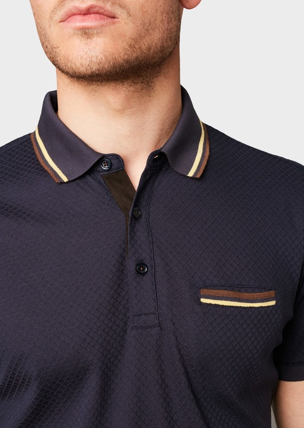 Polo manches courtes Slim en coton texturé bleu marine - Father and Sons 7633