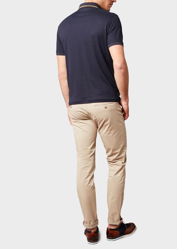 Polo manches courtes Slim en coton texturé bleu marine - Father and Sons 7632