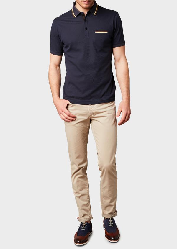 Polo manches courtes Slim en coton texturé bleu marine - Father and Sons 7631