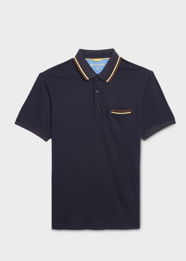 Polo manches courtes Slim en coton texturé bleu marine - Father and Sons 7629