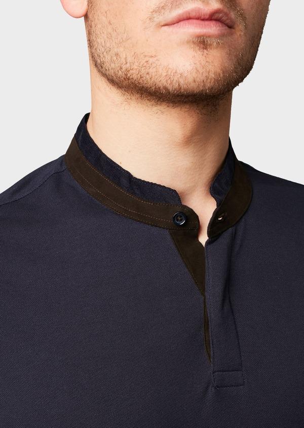 Polo manches courtes Slim en coton uni bleu marine - Father and Sons 7681