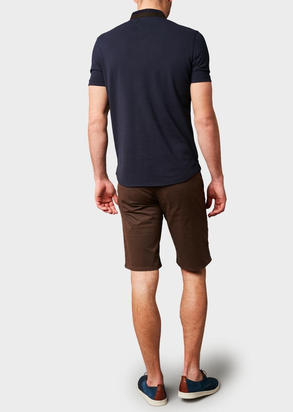 Polo manches courtes Slim en coton uni bleu marine - Father and Sons 7680