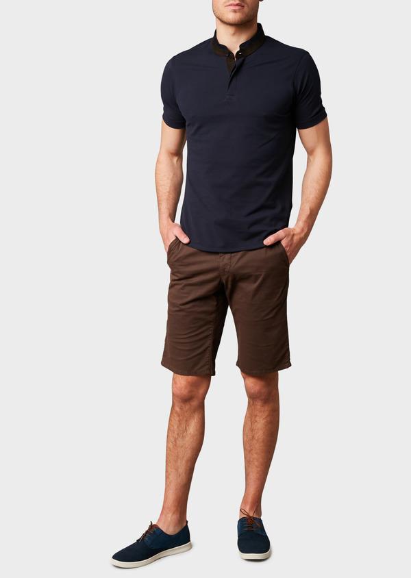 Polo manches courtes Slim en coton uni bleu marine - Father and Sons 7679