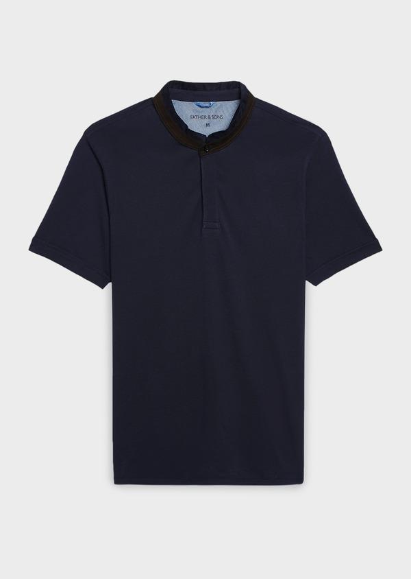 Polo manches courtes Slim en coton uni bleu marine - Father and Sons 7677