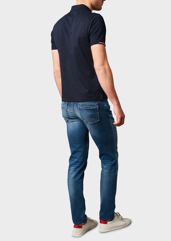 Polo manches courtes Slim en coton mercerisé bleu marine - Father and Sons 8190