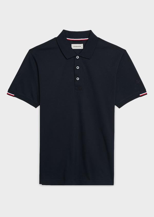 Polo manches courtes Slim en coton mercerisé bleu marine - Father and Sons 8187