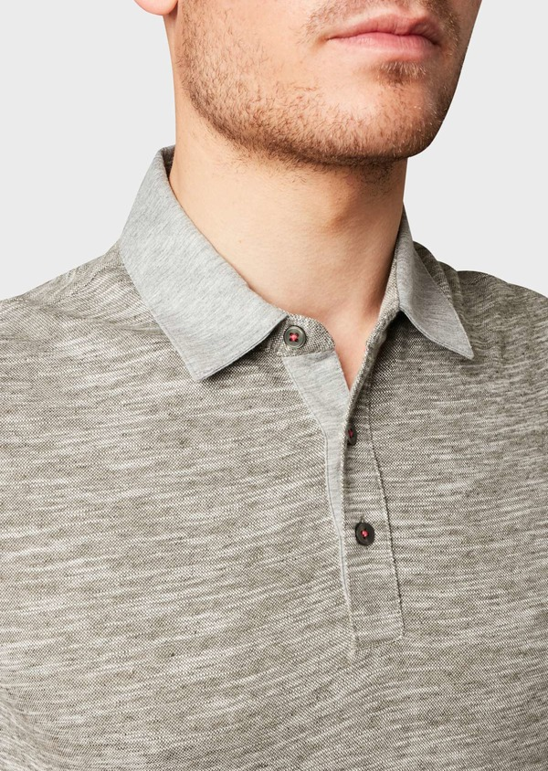 Polo manches courtes Slim en coton gris chiné - Father and Sons 7697