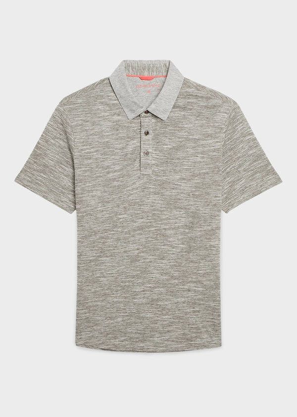 Polo manches courtes Slim en coton gris chiné - Father and Sons 7693