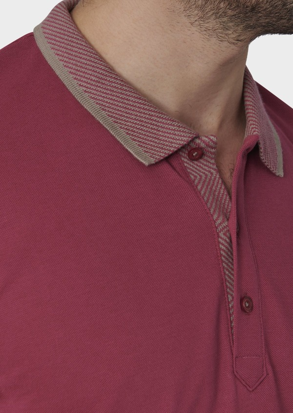 Polo manches courtes Slim en coton uni rose - Father and Sons 7601