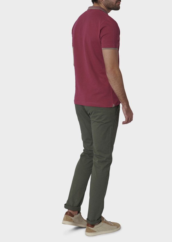 Polo manches courtes Slim en coton uni rose - Father and Sons 7600