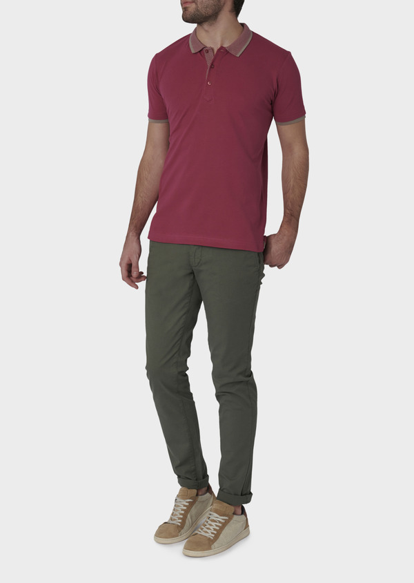 Polo manches courtes Slim en coton uni rose - Father and Sons 7599