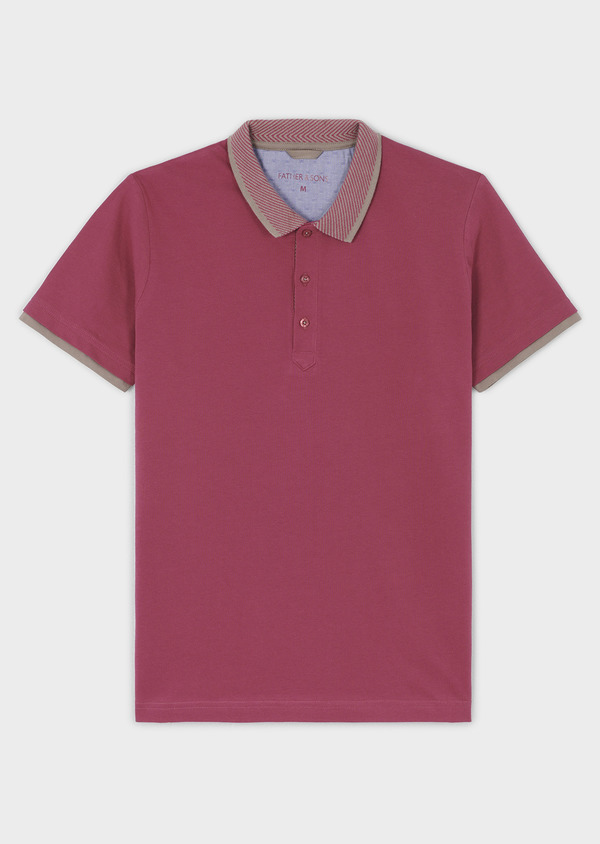 Polo manches courtes Slim en coton uni rose - Father and Sons 7597