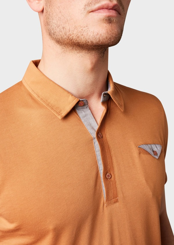 Polo manches courtes Slim en coton uni camel - Father and Sons 7617