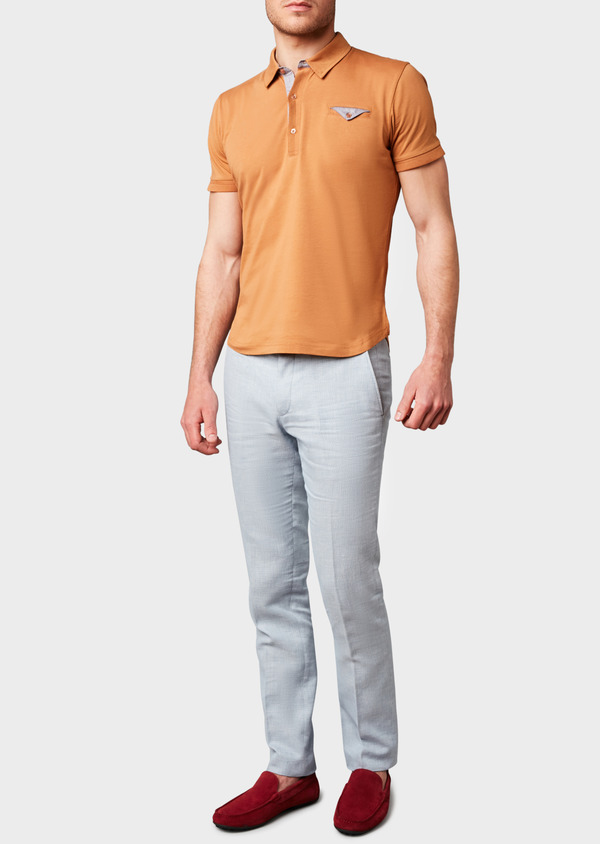 Polo manches courtes Slim en coton uni camel - Father and Sons 7615