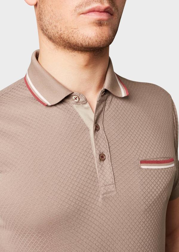 Polo manches courtes Slim en coton texturé marron clair - Father and Sons 7641
