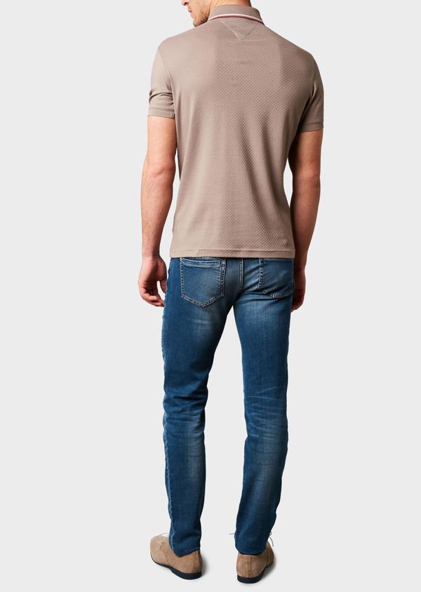 Polo manches courtes Slim en coton texturé marron clair - Father and Sons 7640
