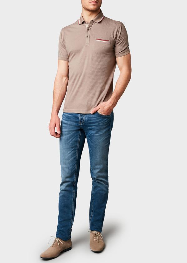 Polo manches courtes Slim en coton texturé marron clair - Father and Sons 7639
