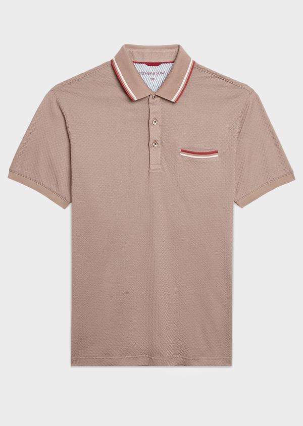 Polo manches courtes Slim en coton texturé marron clair - Father and Sons 7637