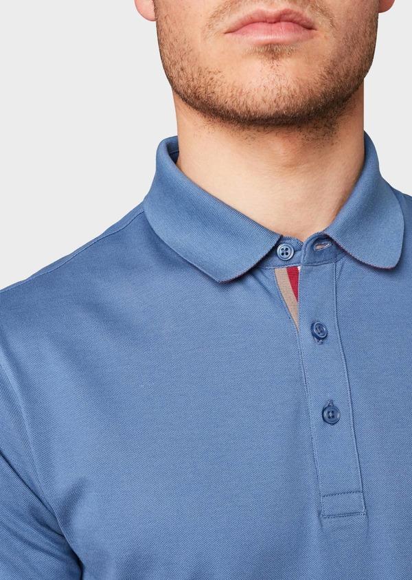Polo manches courtes Slim en coton uni bleu - Father and Sons 7569