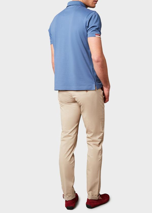 Polo manches courtes Slim en coton uni bleu - Father and Sons 7568