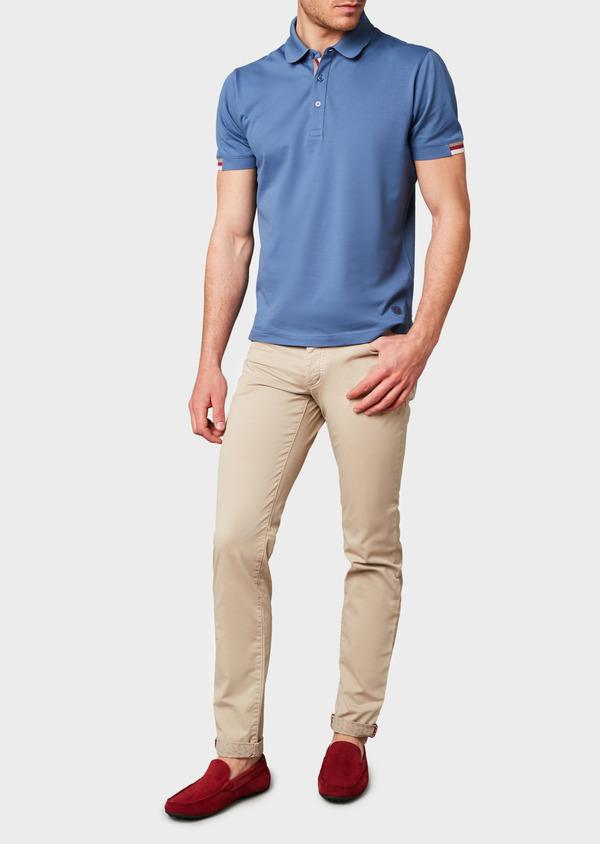 Polo manches courtes Slim en coton uni bleu - Father and Sons 7567