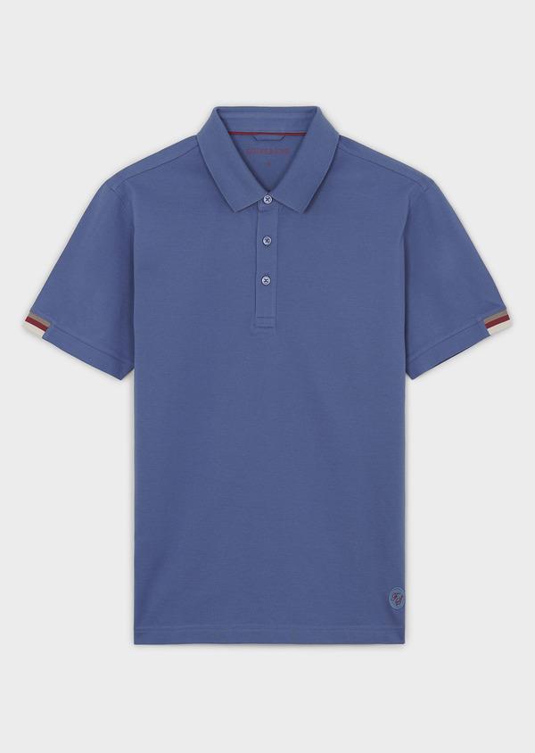 Polo manches courtes Slim en coton uni bleu - Father and Sons 7565