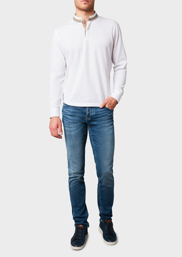 Polo manches longues Slim en coton texturé blanc - Father and Sons 7002