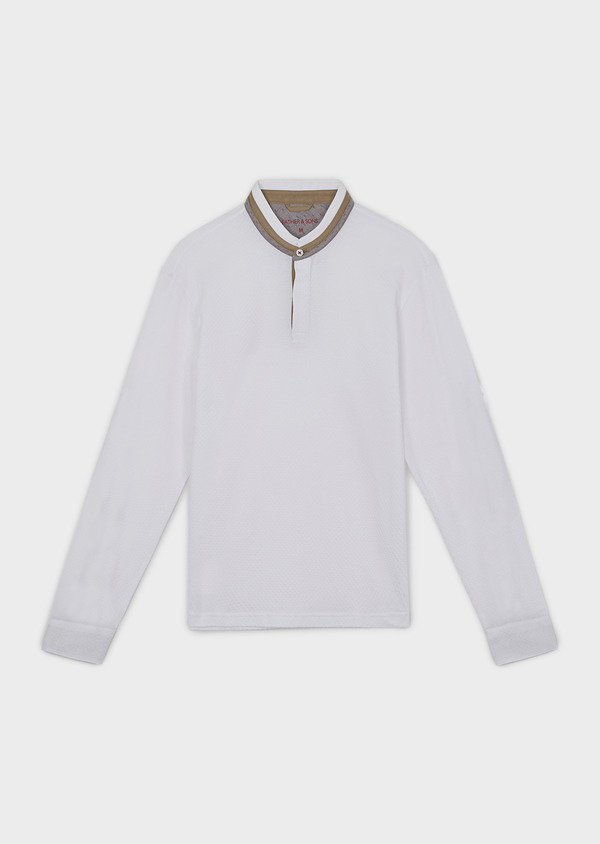 Polo manches longues Slim en coton texturé blanc - Father and Sons 7000