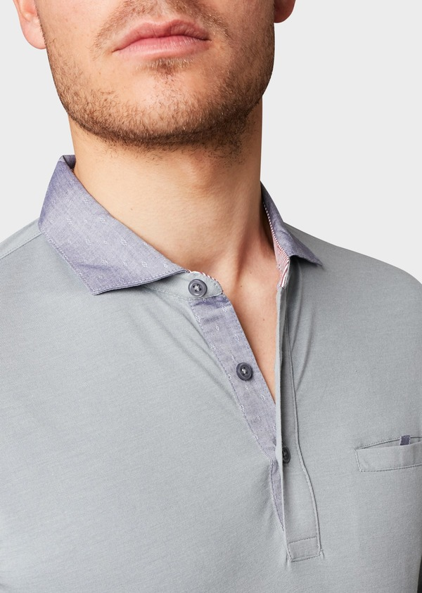 Polo manches longues Slim en coton uni gris clair - Father and Sons 6987