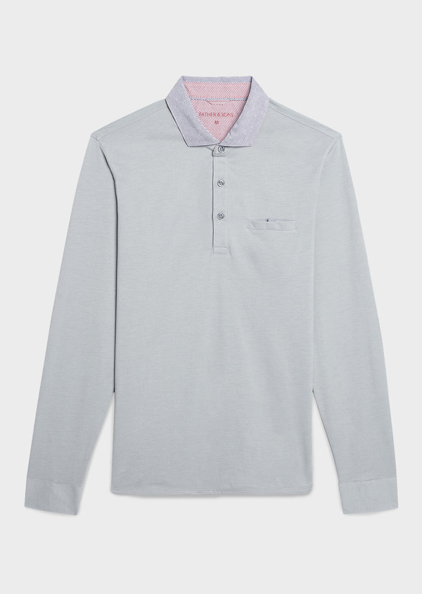 Polo manches longues Slim en coton uni gris clair - Father and Sons 6983