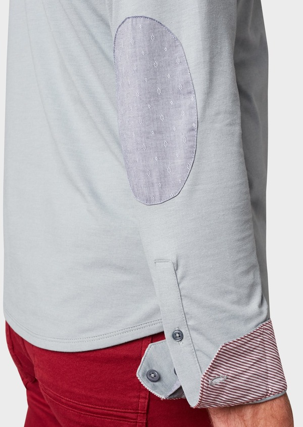 Polo manches longues Slim en coton uni gris clair - Father and Sons 6988