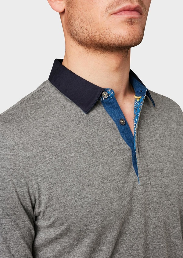 Polo manches longues Slim en coton uni gris - Father and Sons 6970