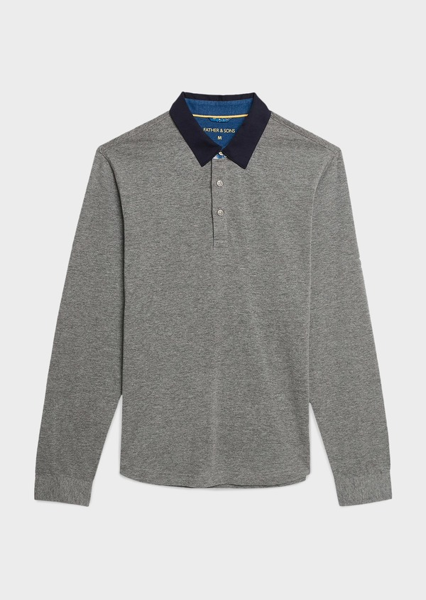 Polo manches longues Slim en coton uni gris - Father and Sons 6966