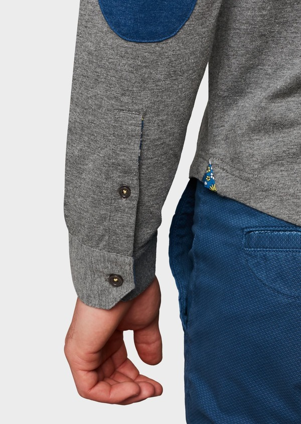 Polo manches longues Slim en coton uni gris - Father and Sons 6971