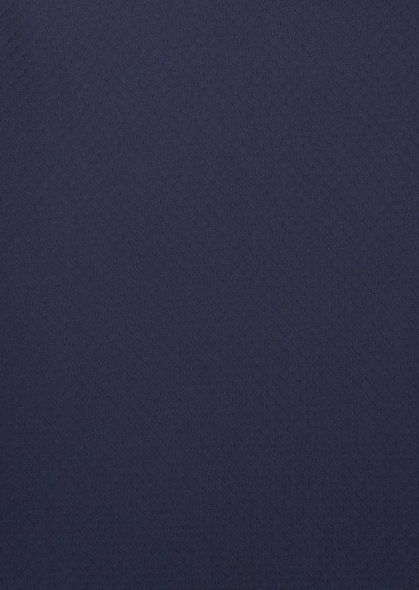 Polo manches longues Slim en coton texturé bleu indigo - Father and Sons 6993