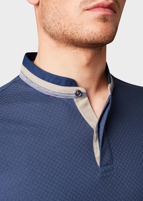Polo manches longues Slim en coton texturé bleu indigo - Father and Sons 6996