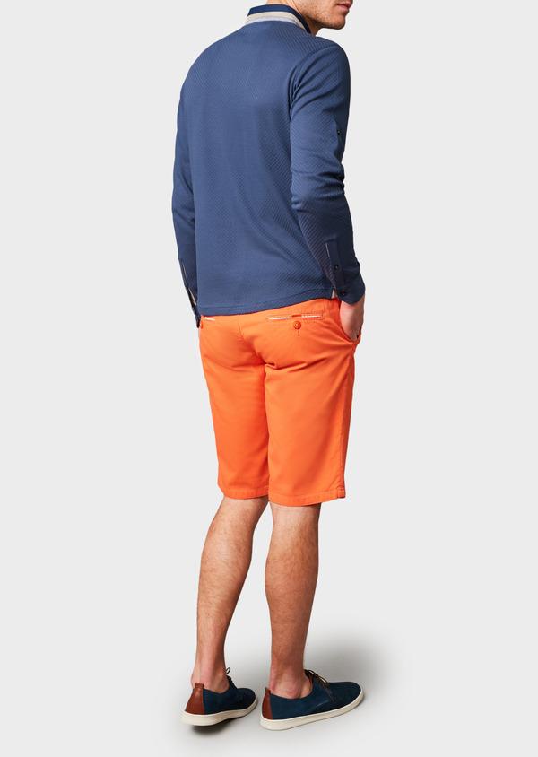 Polo manches longues Slim en coton texturé bleu indigo - Father and Sons 6995